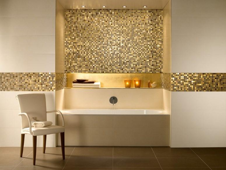 золотистая мозаика в ванной комнате фото