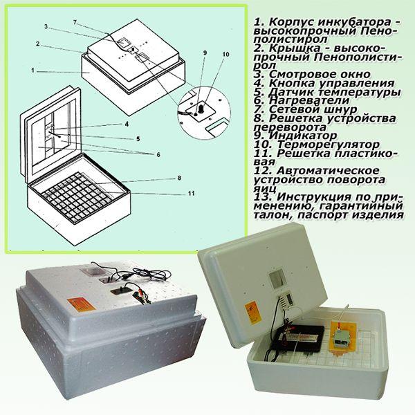 Комплектация инкубатора Несушка