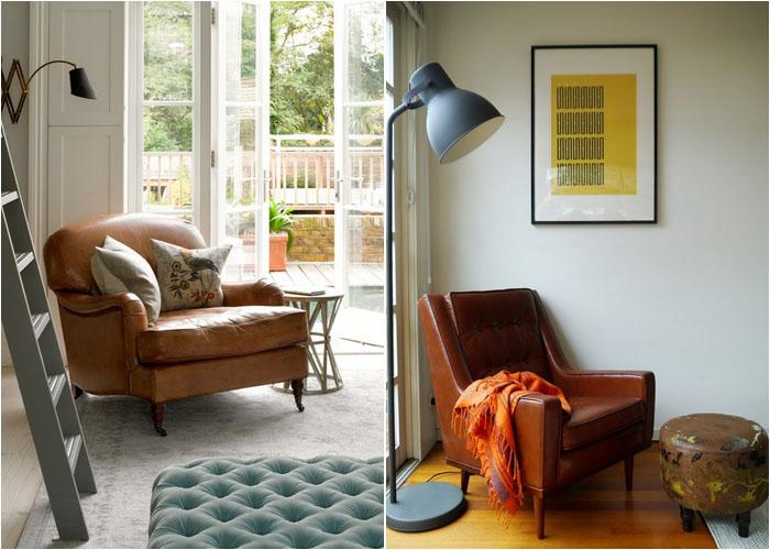 Кресло для чтения в гостиной