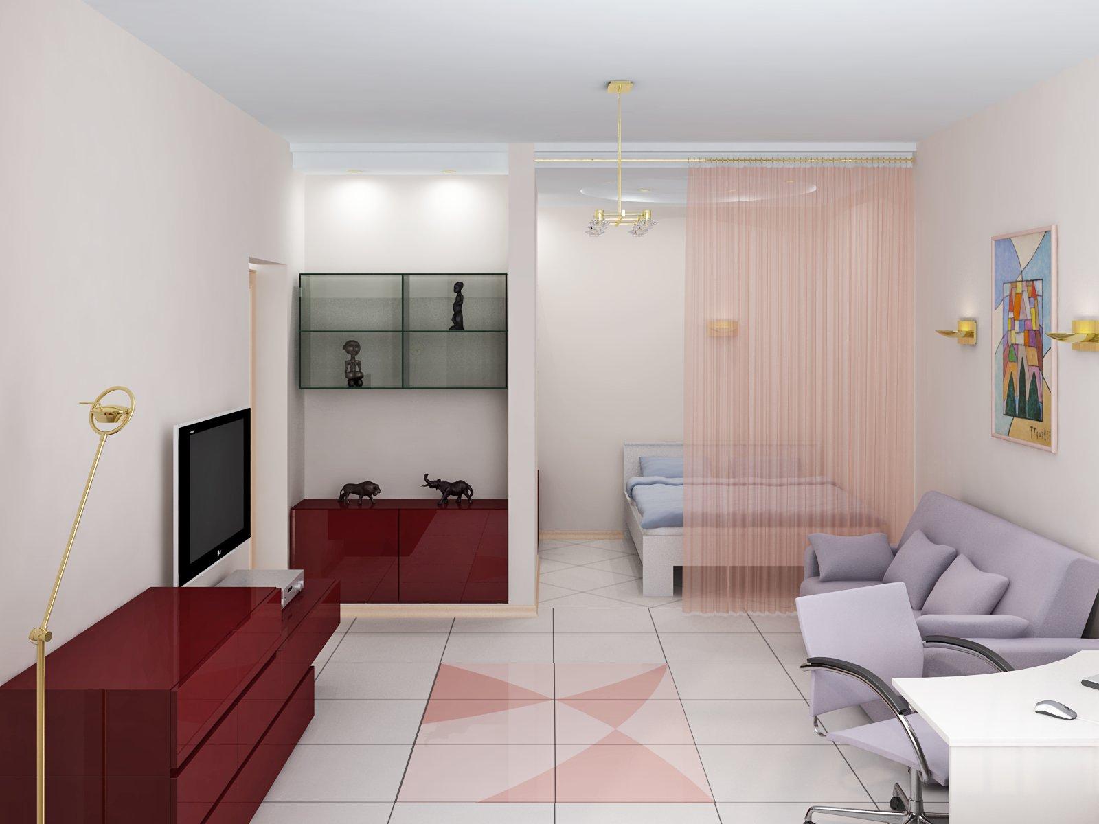 Зонирование малогабаритной квартиры-студии.