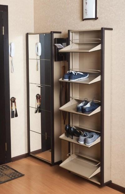 вертикального шкафа под обувь в маленькой прихожей