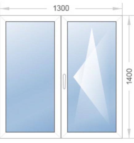 стандартное двухстворчатое окно с поворотно откидной створкой размером 1300*1400.