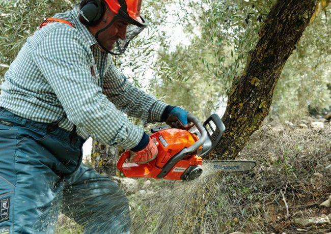 Использование бензопилы для вырубки леса