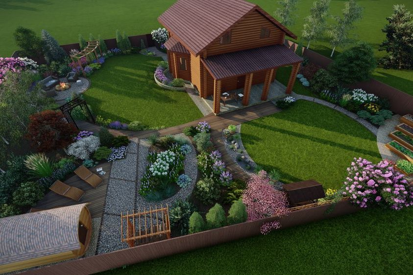 Деревянный дом с ландшафтным дизайном