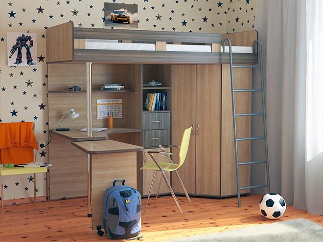 кровать для подростка с книжными полками