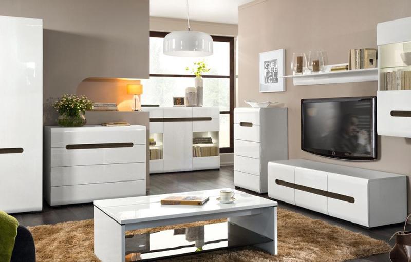 мебель с характерным белым глянцем для гостиной фото