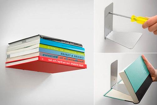невидимые книжные полки в стиле лофт