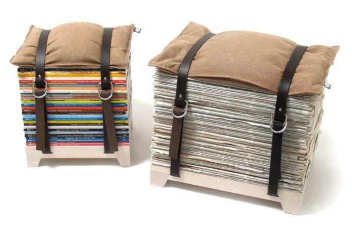 Идеи мебели для дома пуфики из книг